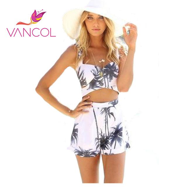 Vancol 2016 del verano de los mamelucos de impresión para las mujeres establece playa blanca con cuello en v más el tamaño del tirante de espagueti backless sexy cortocircuitos del mono
