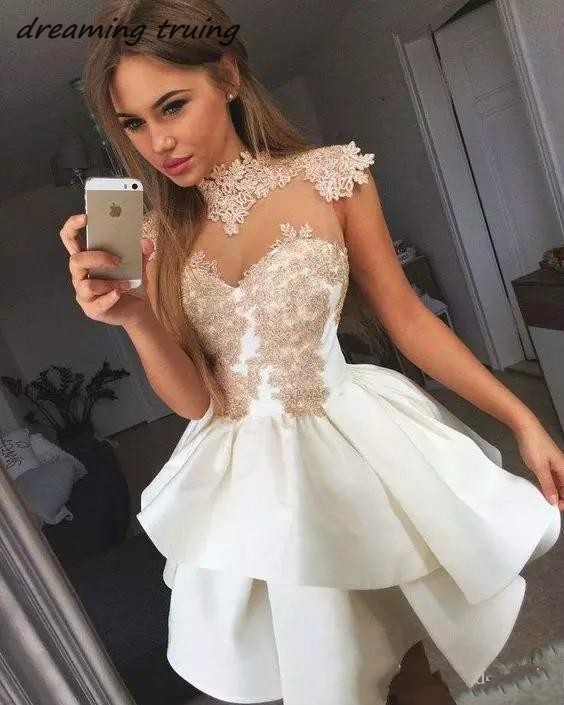 Homing Dress White Short Mini Cocktail Dresses With Cap Sleeve Appliques See Through Neck Prom Party Gown Vestidos De Gala