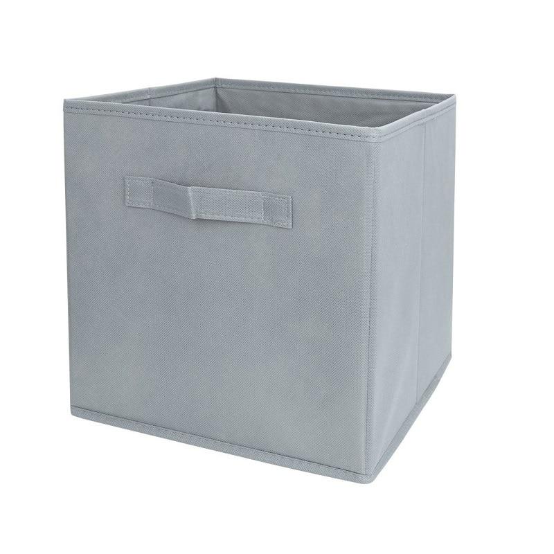 Grey Fabric Cube Storage Bins Foldable Premium Quality Collapsible Baskets Closet Organizer Drawers