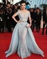 Cannes Film Festival Celebridade Vestidos Com Destacável Train Sheer Neck Vestido de Noite Tapete Vermelho Manga Curta Até O Chão Vestido