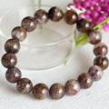Natural Genuine Brown Purple Titanium Cacoxenite Finish Stretch Men Bracelet Round Big Beads 11.5mm 04293