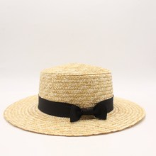 2019 Wide Brim Boater Hat Straw Flat Women Summer Kentucky Derby White Black Ribbon Tie Sun Beach Cap