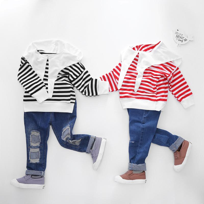 Kids Boys Girls Stripe Clothes Long Sleeve Pullover Hoodies Sweatshirt Tops Fashion Casual Children Clothing Kids Clothes Girls