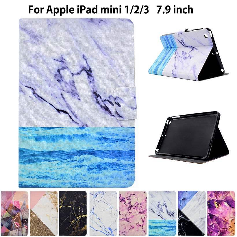 Fashion Marble Pattern Case For Apple iPad mini 1 2 3 Case Smart Cover Funda Tablet PU Leather Flip Stand Shell Sleep&Wake flip left and right stand pu leather case cover for blu vivo air