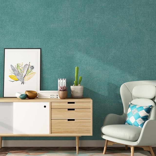 נורדי מוצק צבע פשתן ניירות קיר בית תפאורה אפור ירוק סגול טפט רול למיטה בסלון חדר קירות papier peint