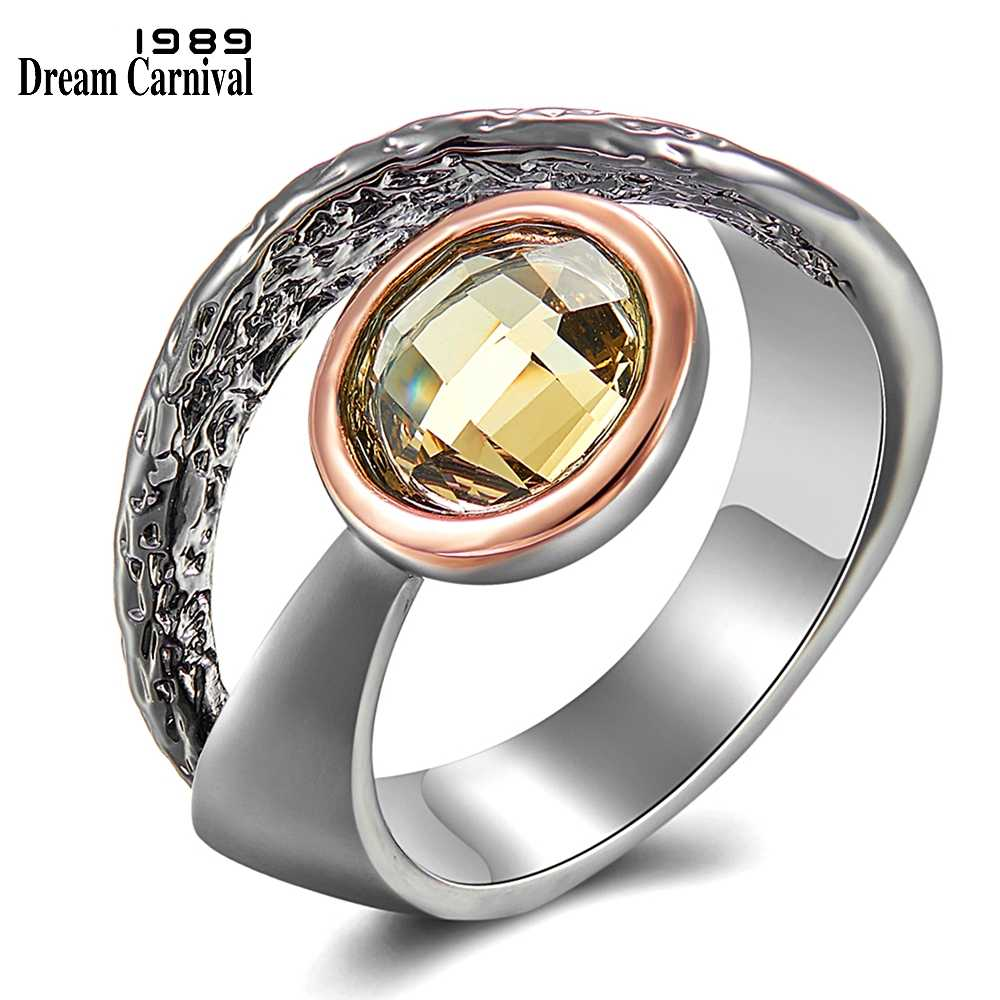 DreamCarnival 1989 Gothic Solitaire Ring for Women Engagement Gun & Rose Gold Coated Chic Chic Sexy Look Quality Jewelry WA11720