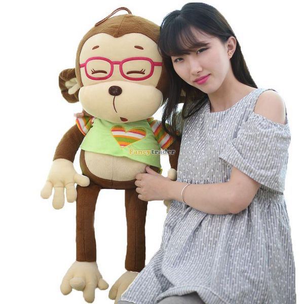 Fancytrader 31'' / 80cm Giant Cute Plush Stuffed Glasses Monkey Toy, 2 Colors Available! Free Shipping FT50246 fancytrader 2015 new 31 80cm giant stuffed plush lavender purple hippo toy nice gift for kids free shipping ft50367