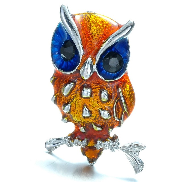 Owl Design Brooch with Austrian Rhinestone Zircon Crystals