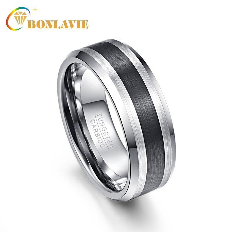 90d4796df8b0 BONLAVIE hombres anillo 8mm negro cepillado acabado biselado 100% alianzas  de boda de carburo de tungsteno anillos para hombres negro plata tamaño 5 a  14