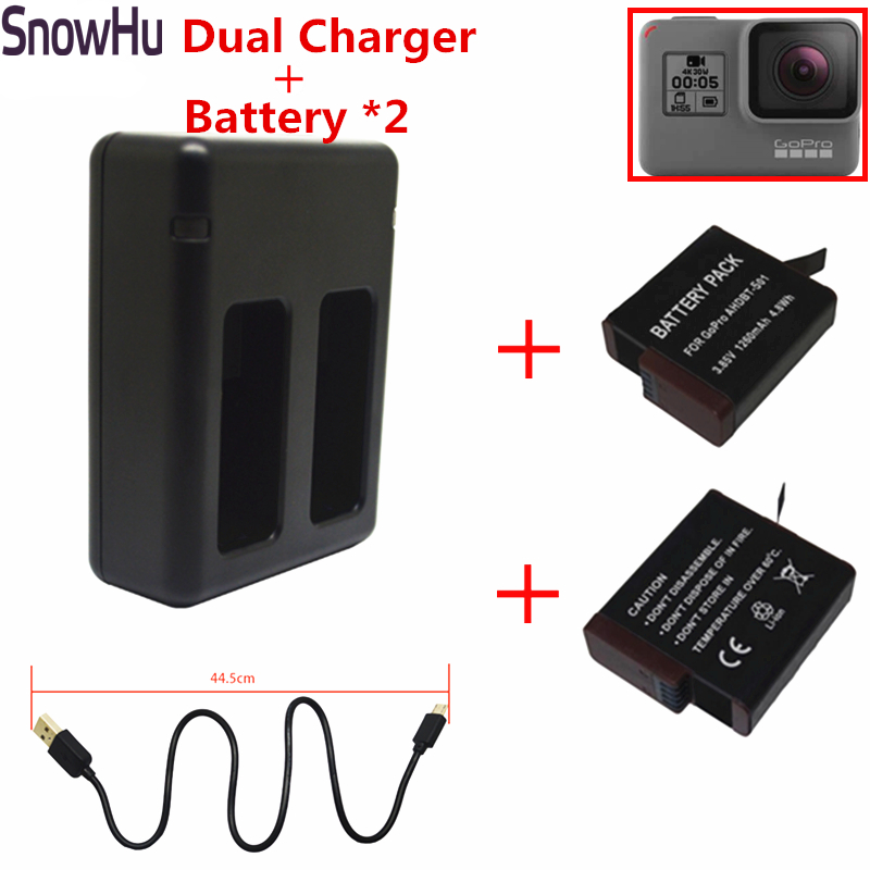 SnowHu for New 2x 1220mAh + Dual Charger For Gopro Hero 5 Batteries Go Pro Hero5  Action camera Accessories GP508B