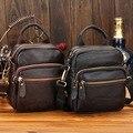 2015 новый 100% натуральная кожа мужчины талия пакеты человек коровьей черный мода fanny pack сумка с мобильного телефона карман поясная сумка для человека