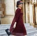 Vestido de seda Bordado de Encaje Rojo Vestido de Tallas grandes Vestidos Largos Maxi vestido de Noche de Encaje Vestidos de Las Mujeres de Corea Del Partido Jurken 5xl