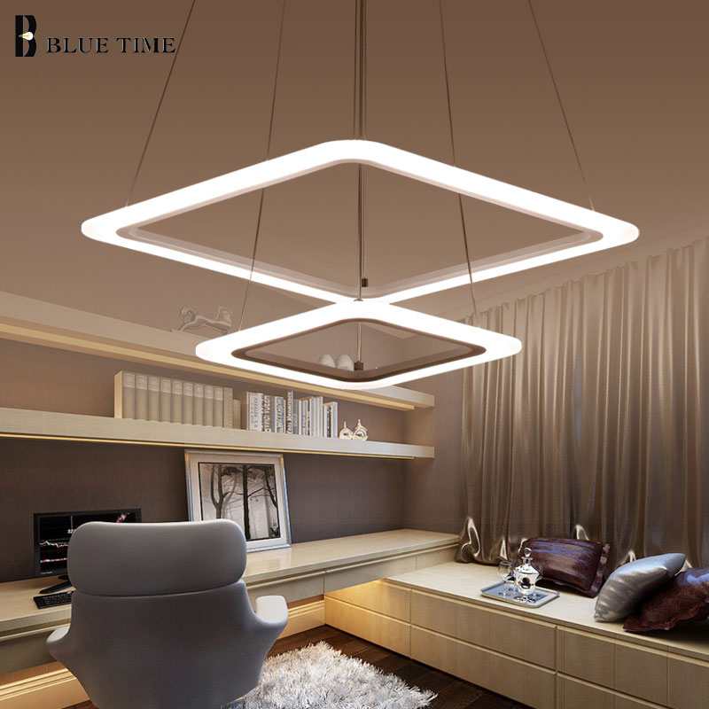 Image 3 - Square Circle Modern LED Pendant Light LED Lustre Ceiling Pendant Lamp For Dining Room Living Room Bedroom Home Lighting Fixture-in Pendant Lights from Lights & Lighting