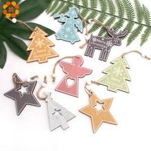 3PCS/Lot Multi Wooden Christmas Ornaments Pendants DIY Wood Crafts Hanging Xmas Tree Ornament Home Party Decorations
