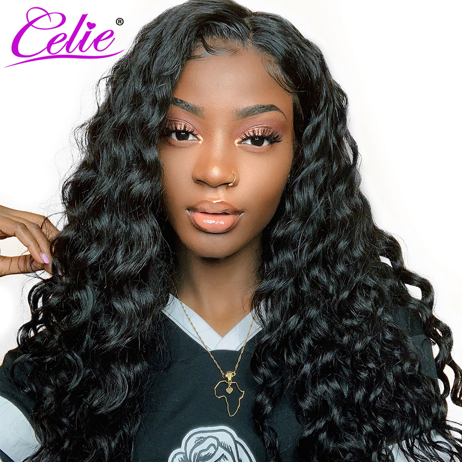 Celie Brazilian Loose Deep Wave Wig Lace Front Human Hair Wigs Pre Plucked 360 Lace Frontal Wig 250 Density Curly Human Hair Wig-in Human Hair Lace Wigs from Hair Extensions & Wigs    1