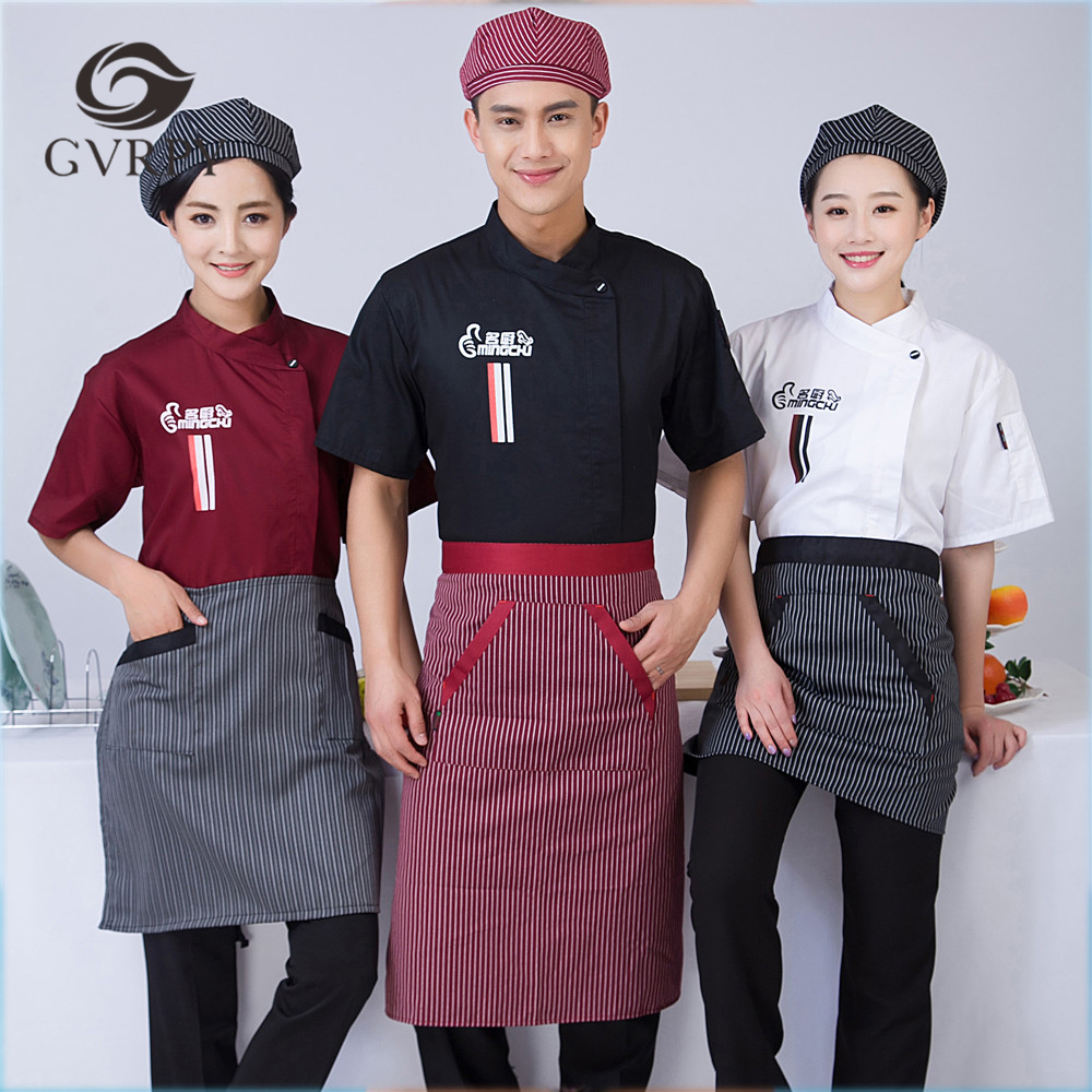 2018 New Design Chef Uniform Wholesale Women Men Short-sleeved Kitchen Bakery Sushi Chef Jacket Chinese Restaurant Work Uniforms