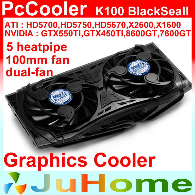 daul 10cm fan, 5 heatpipe copper,for NVIDIA /ATI  Graphics Cooler, VGA Cooler, VGA Fan, PcCooler K100 free shipping 90mm fan 4 heatpipe vga cooler nvidia ati graphics card cooler cooling vga fan coolerboss