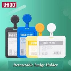UHOO Neue Hohe Qualität Kunststoff ID Karte Halter Versenkbare Abzeichen Halter Überspringen Identität Abzeichen Halter Großhandel