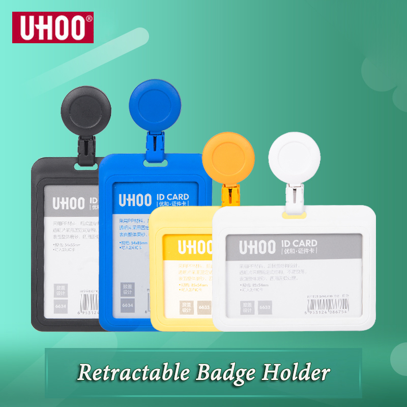 UHOO New High Quality Plastic ID Card Holder Retractable Badge Holder Skip Identity Badge Holders Wholesale