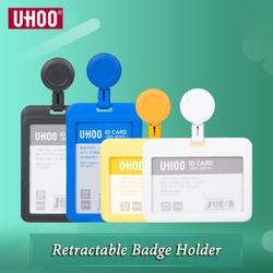 UHOO New High Quality Plastic ID Card Holder Retractable Badge Holder Skip Identity Badge Holders Wholesale