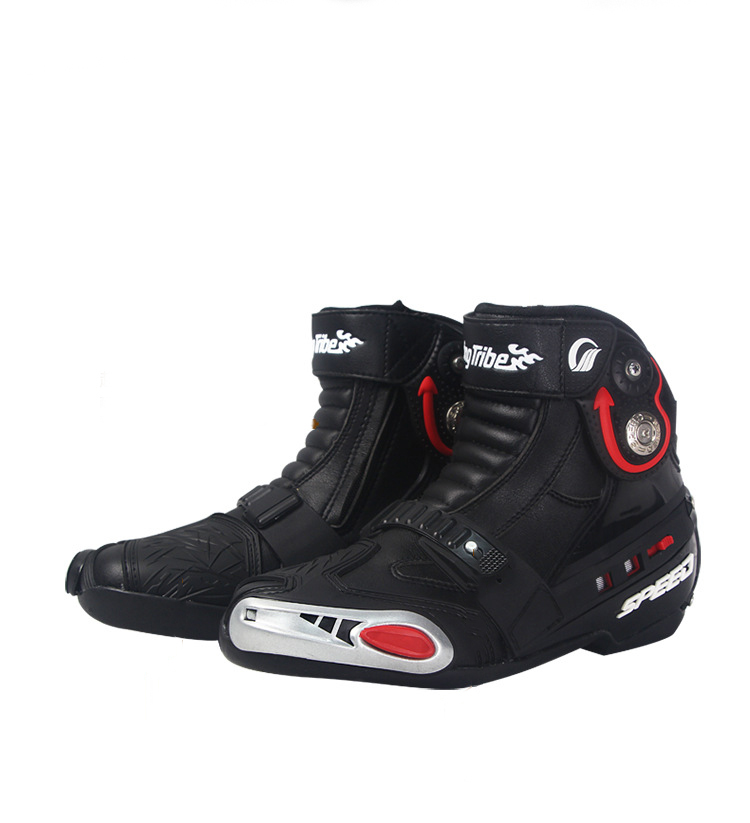 Pair Motorcycle Boots Men Super Fiber PU Leather Motocross Boots Moto Motorboats Shoes Motorbike Racing Bicycle Speed Boots