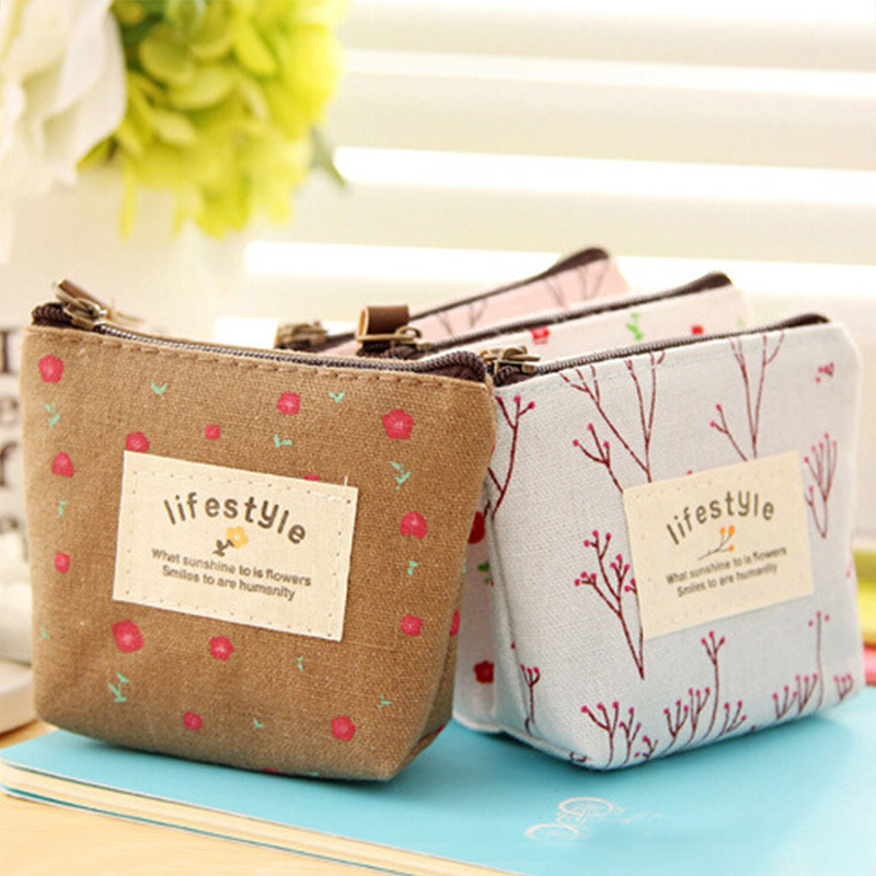 New Women Kids Canvas Coin Purse Floral Zipper Pouch Small Wallet for Coins Lady Key Card Holder Case Bag Porta Monete Donna backpack top quality hot sales canvas mini floral women girls kids cheap coin pouch compact elegant mochila 17apr25