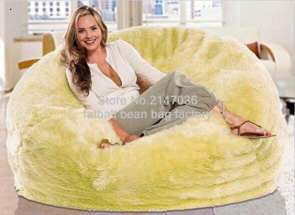 Large Lemon Or White Or Cream Shaggy Faux Fur Long Fur Beanbag Cover Plush Bean  Bag