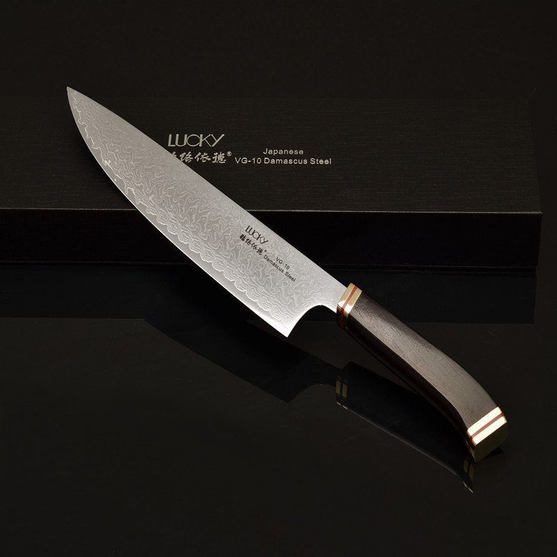 Professional 8inch Damascus Stainless Steel Ebony Wooden Handle Janpanese Kitchen Knife Chef Knife VG10 Knife 46
