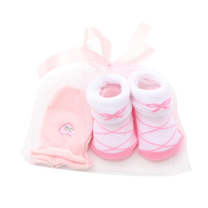 Cute Cartoon Baby Infant Boys Girls Floor Socks + Anti Grab Gloves Clothing Accessories Set 0-24M Newborn Lovely Gifts 2pcs