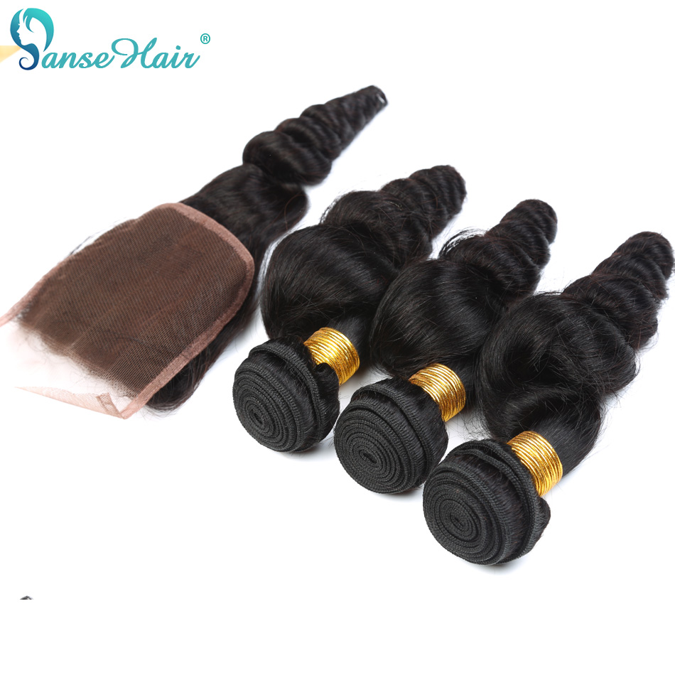 Brazilian Hair Panse Hair Loose Wave Hair 4 Bundles Hair with Closure 4X4 Customized 8 To 28 Inches 100% Human Hair Non Remy ...