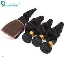 Brezilyalı saç Panse saç gevşek dalga saç 4 demetleri saç kapatma ile 4X4 özelleştirilmiş 8 ila 28 inç 100% insan saç olmayan Remy