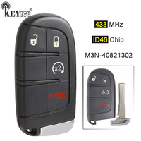 KEYECU 433MHz ID46 Chip M3N 40821302 Replacement 4 Button Smart Remote Key Fob for Fiat 500L, for Jeep Renegade 2015 2018