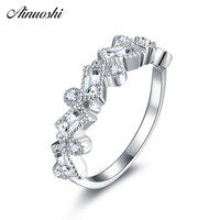 AINUOSHI 925 Sterling Silver Wedding Ring Engagement Anniversary Emeralded & Round Cut Rings Birthday Party Silver Lover Jewelry