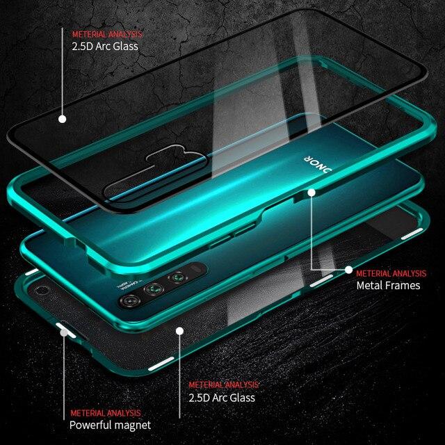 Boîtier en métal magnétique de luxe pour Huawei P30 P20 Mate 20 Honor 20 Pro Lite 20i V20 avant arrière Double verre 360 housse de protection complète