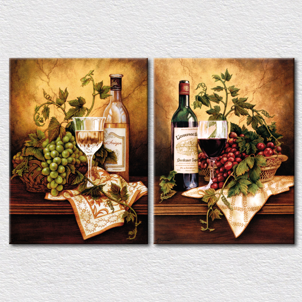 Fresh fruits and wine canvas pictures for kitchen wall