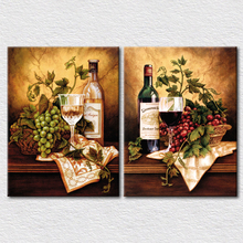hot deal buy fresh fruits and wine canvas pictures for kitchen wall decoration 2 panels canvas arts pictures high quality
