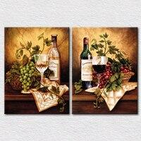Tela de frutas e vinho para cozinha decoração 2 painéis de lona parede arte fotos