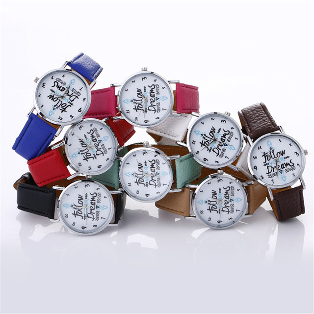 Fashion Bracelet Watch Women Neutral Letter Pattern Fashion Leather Quartz Wrist