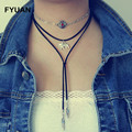 FYUAN Design Vintage 3 Layers Black Faux Suede Choker Necklaces Elephant Owl Pendant Necklaces for Women Girl Gift Collier
