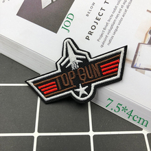 JOD 7.5*4cm TOP GUN Embroidery Tactical Military Patch Applique Iron on Decorative Biker Patches for Clothing Jacket Stickers @
