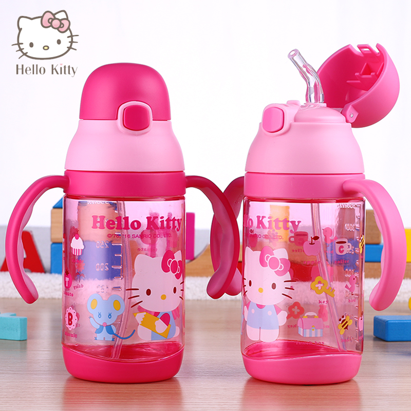 Drink Water Bottle for baby Feeding with handle/Straw children Glass Unbrocken Tumbler Student Drinkware water bottle BPA Free