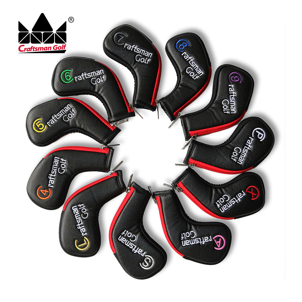 Artisan Golf 11 pièces/ensemble (4,5, 6,7, 8,9, A, S, P, L, X) cuir synthétique noir avec bord rouge couvre-tête en fer serti d'une fermeture à glissière