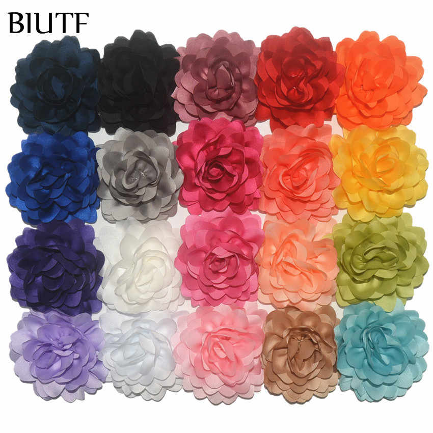100pcs/lot 3.2'' Gorgeous Wavy Satin Ribbon Fabric Flower for Fancy Hairclip Accessories Wedding Decor Home DIY TH277