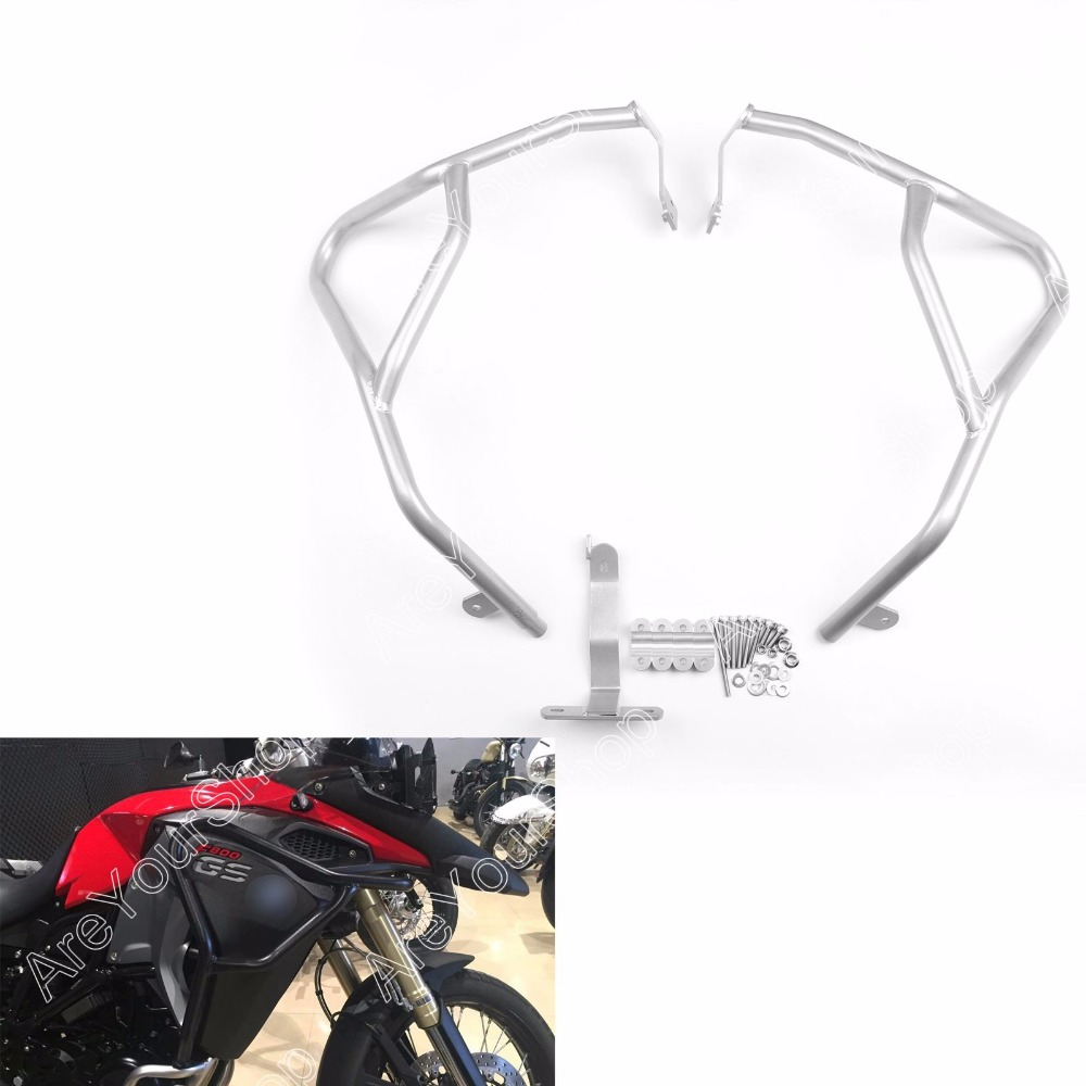 Areyourshop Engine Guard Highway Crash Bar Upper For BMW F800GS Adventure 2014 2015 2016 1 set Silver US shipping high quality for bmw r1200gs 2013 2014 2015 motorcycle upper engine guard highway crash bar protector silver