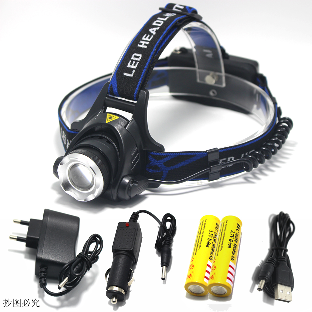 Hot 2000 Lumen Head Lamp LED Flashlight Torch XML T6 Headlamp Lantern Headlight Head Light Charger