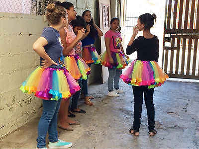 Moda niños bebé niña tutú faldas de baile Ballet Pettiskirt colorida danza Arco Iris falda para 0-8 años