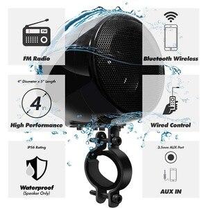 Image 2 - Комплект звукового сигнала для мотоцикла Aileap, 150 Вт, стереоусилитель 2 канала, водонепроницаемые колонки 4 дюйма, Bluetooth, FM радио, AUX MP3 (черный)