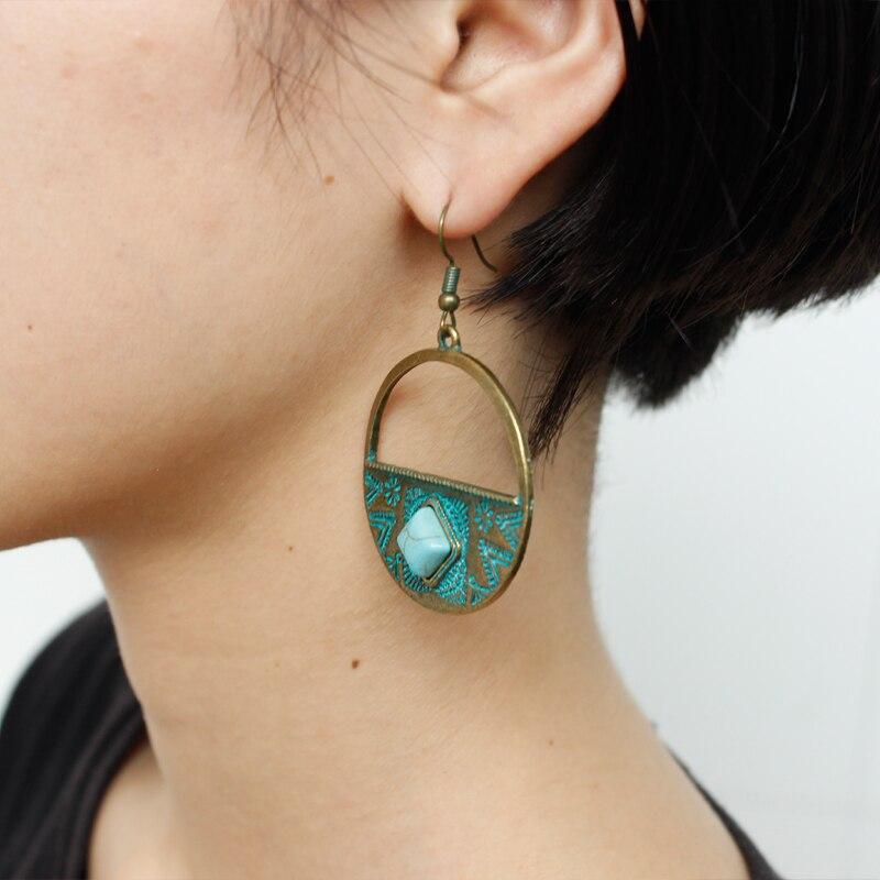 Drop Earrings Geometric Rotunda Hollow Drop Earrings Retro Green Stone Personality Designer Earrings Bohemian Charm Earrings For Beach Holiday Customers First Earrings