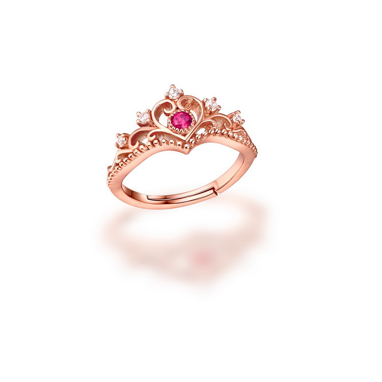 TYME Hot Jewelry LOVE Rings For Women rose gold color love Ring with red crystal Heart Engagement Ring femme engagement gifts