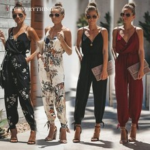 Sexy Rompers Womens Jumpsuit Black Printed Spaghetti Strap Sleeveless Long Jumosuits For Women 2019